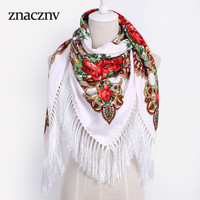 Luxury Brand Winter kerchief fashionable Accessories Russian Woman Square Scarf Print Pattern Tassel Cotton100% tassel fringe