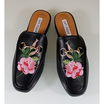 CR Black Almond Toe Flats Mules Clog Embroidered Rose Design Slippers