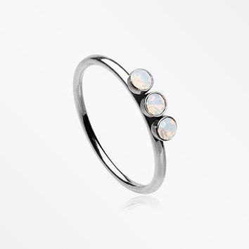 Triple Opalite Sparkle Bendable Twist Hoop Ring