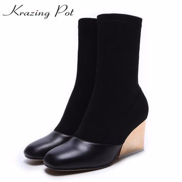 Krazing Pot cow leather sheep suede high street fashion high heels Chelsea boots woman round toe keep warm mid-calf boots L09
