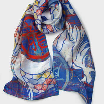 Dragon Scarf, Chinese Dragon Silk Scarf, Tattoo Inspired White Dragon, Unique Handmade Statement Scarves, Unisex Gift