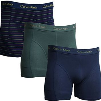 Calvin Klein Boxer Brief Men's Underwear - 3 Pack - Blue (Solid and Stripe)