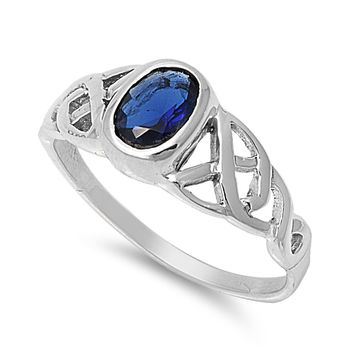 925 Sterling Silver CZ Wicca Celtic Patterned Simulated Sapphire Ring 8MM