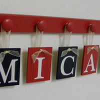 Navy and Red Nursery Wall - Room Decor  - Name Set includes Baby Boy MICAH and 5 Wooden Pegs Red
