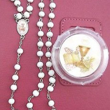 First Communion/First Confirmation White Round Rosaries Beads Necklace gift box
