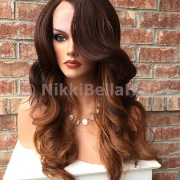 Lona Ombre Auburn Mix Human Hair Blend Full Wig 18""