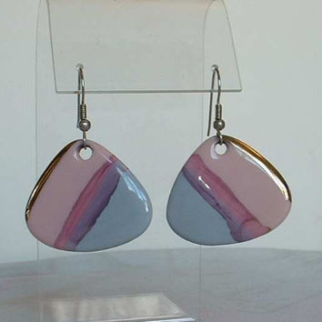 Triangular Pastel Pink Blue Gold Enamel Ceramic Earrings Wires Vintage Jewelry