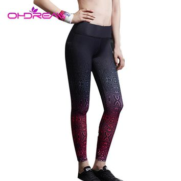 OHDREAM Sport High Waist Compression Gym Clothes Sexy Running Women Leggings Fitness Print Leggings Running Tights Female-A
