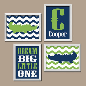 ALLIGATOR Wall Art Art BABY BOY Nursery Wall Art Boy Bedroom Decor Chevron Dream Big Little One Navy Green Alphabet Set of 4 Canvas or Print