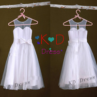 On Special Ivory Tulle Satin Flower Girl Dress Junior Bridesmaid Dress Children Birthday Party Dress Kids Dress With Ribbon/Bow
