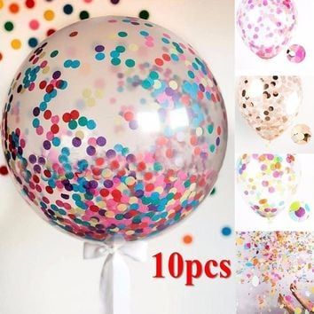 Hot Sale 10pcs 12'' Foil Confetti Transparent Latex Balloons Multicolor Balloon For Birthday Wedding Party  Decoration