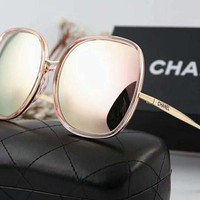 Chanel Popular Ladies Elegant Logo Letter Summer Sun Shades Eyeglasses Glasses Sunglasses Light Pink I-A-SDYJ