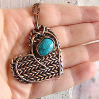 Natural turquoise pendant, heart pendant, knitted pendant, copper pendant, Christmas present, gift for her, handmade gift, wire wrap pendant