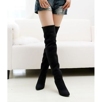 High quality women shoes fashion Pointed Toe Nubuck Leather boots Over-the-Knee Slip-O