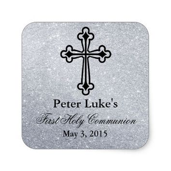 Glitter Cross First Communion Party Favor Labels Square Sticker