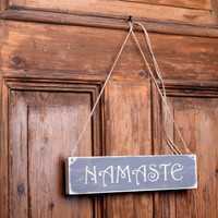 Rustic Namaste Sign, yoga gift,  om , wooden namaste, wall hanging, engraved wood letters