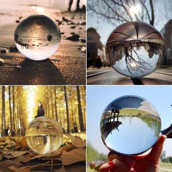Clear Glass Crystal Ball Healing Sphere Figurines