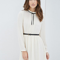 Long Sleeve Bowknot Chiffon Dress With Belt