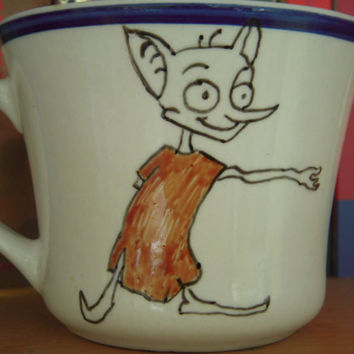 "J.K Rowling Harry Potter Hand Painted Dobby Quote Mug ""Only meant to maim, or seriously injure."""