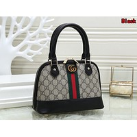 Gucci Popular Women Shopping Leather Handbag Shoulder Bag Satchel Black