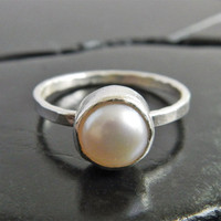 Simple White Pearl and Sterling Silver Stacking Ring, Freshwater Pearl Ring, Bridal Jewelry, Bridesmaid Gift, June Birthstone Ring
