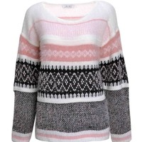 ZLYC Women Fluffy Aztec Space Dye Knitted Pullover Jumper Geometric Casual Sweater Pink