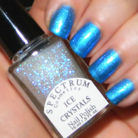 ICE CRYSTALS Glittery Top coat Nail Polish Winter Blues Collection