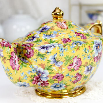 Sophie Chintz - James Sadler Transferware Yellow Floral Teapot 11673