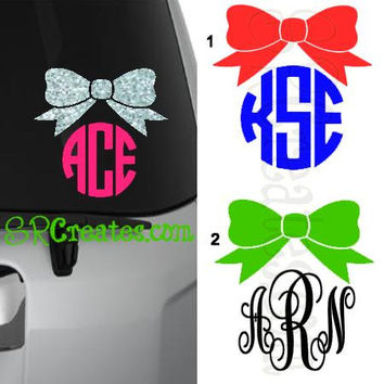 Bow Monogram - Glitter Vinyl or Regular Vinyl, Many Sizes