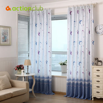 1*2.7M Curtains For Bedroom  Embroidered Window Screening Rustic Curtains For Living Room Children Moon Curtain Beautiful HH1520