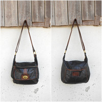 Vintage FOSSIL Black Leather Crossbody Bag // Leather Shoulder Bag //