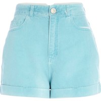 Green high waisted denim shorts - denim shorts - shorts - women