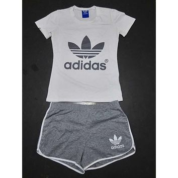 adidas women fashion print short sleeve top shorts sweatpants set two piece sportswear