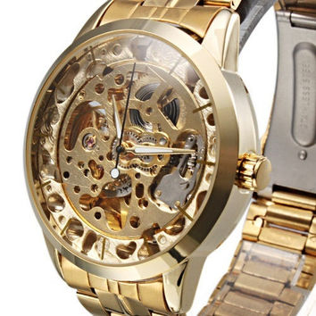 Stainless Steel Manual-Winding Semi-Automatic Mechanical Wristwatch Men watch = 1956384516