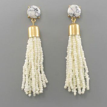 Ivory & Marble Print Tassel Earrings