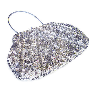 Grande Maison Blanche, Silver Sequin, Beaded Clutch, Evening Handbag, Made in Hong Kong, Vintage Accessories, Ladies Purse