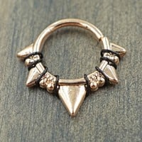 Triangle Rose Gold Daith Rook Cartilage Hoop