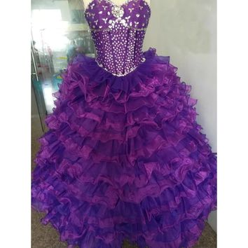 Purple ruffled Quinceanera Dress