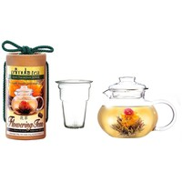 Flowering Tea Set with 40-oz Stove Top Clear Glass Pot Kettle & Infuser