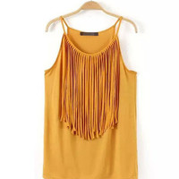 Fringed Neckline Sleeveless Halter Top