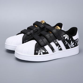 Adidas Original Superstar White Black Velcro Toddler Kid Shoes - Best Deal Online