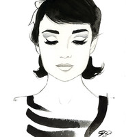 Watercolor Fashion Illustration -Audrey Always print