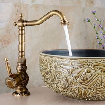 High Quality Luxury antique bronze copper tall carving Deck mounted kitchen faucet Bathroom basin faucet sink Faucet Mixer Tap