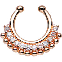 Clear Gem Rose Gold PVD Bright Beauty Non-Pierced Clip On Septum Ring | Body Candy Body Jewelry