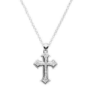 Hammered Cross Pendant Necklace
