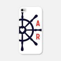 Personalized iPhone Case - Monogram iPhone Case - Nautical iPhone 4 Case Monogram iPhone 5 Case Monogram iPhone 5c Case Red Blue 4th of July