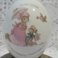 Vintage Tiny Talk Porcelain Egg Good Times Make Happy Memories Easter Squirrel Collectible Home Decor