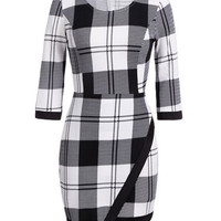 White and Black Plaid 3/4 Sleeve Mini Dress