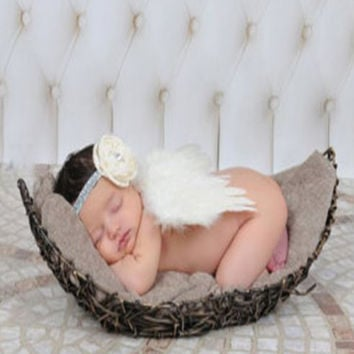 White Feather Wings With Sparkle Flower Headband Newborn Baby Prop - CCW219