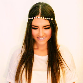 The Vera: Iridescent Rhinestone Chain Halo Gypsy Crown 20s Headband Hippie Halo Goddess Head Chain Circlet Fashion Headdress Hair Piece Boho